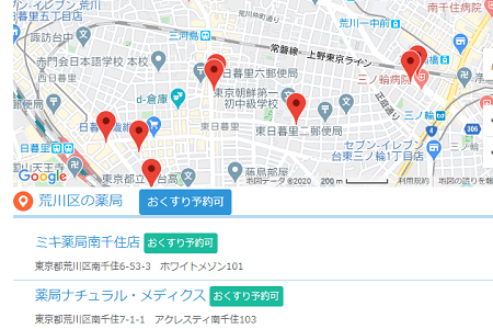 ヨヤクスリ、近くの店舗